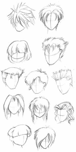 how to draw anime guys hair. of different anime